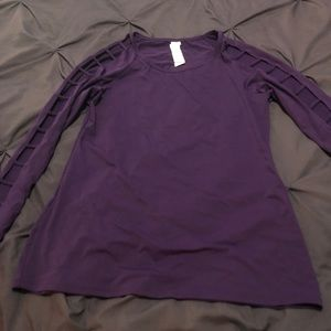 Fabletics purple long sleeve with arm cutouts